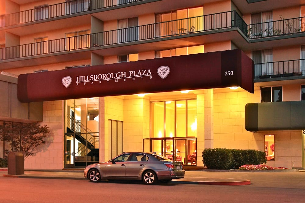 Entrance to Hillsborough Plaza Apartments in San Mateo, California