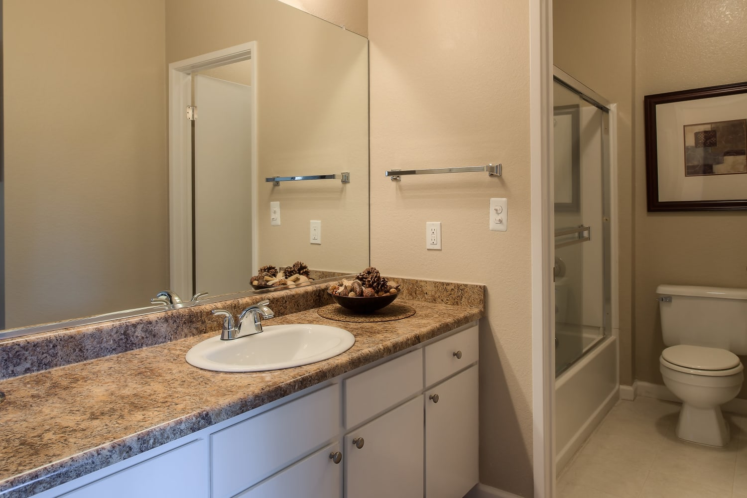 Cotton Wood Apartments in Dublin, California, offer bathrooms with ample counter space
