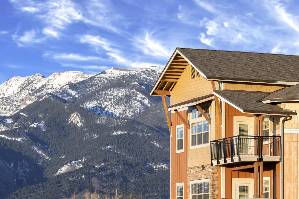 Magnificent mountain views from balcony at The Springs at Bozeman in Bozeman, Montana