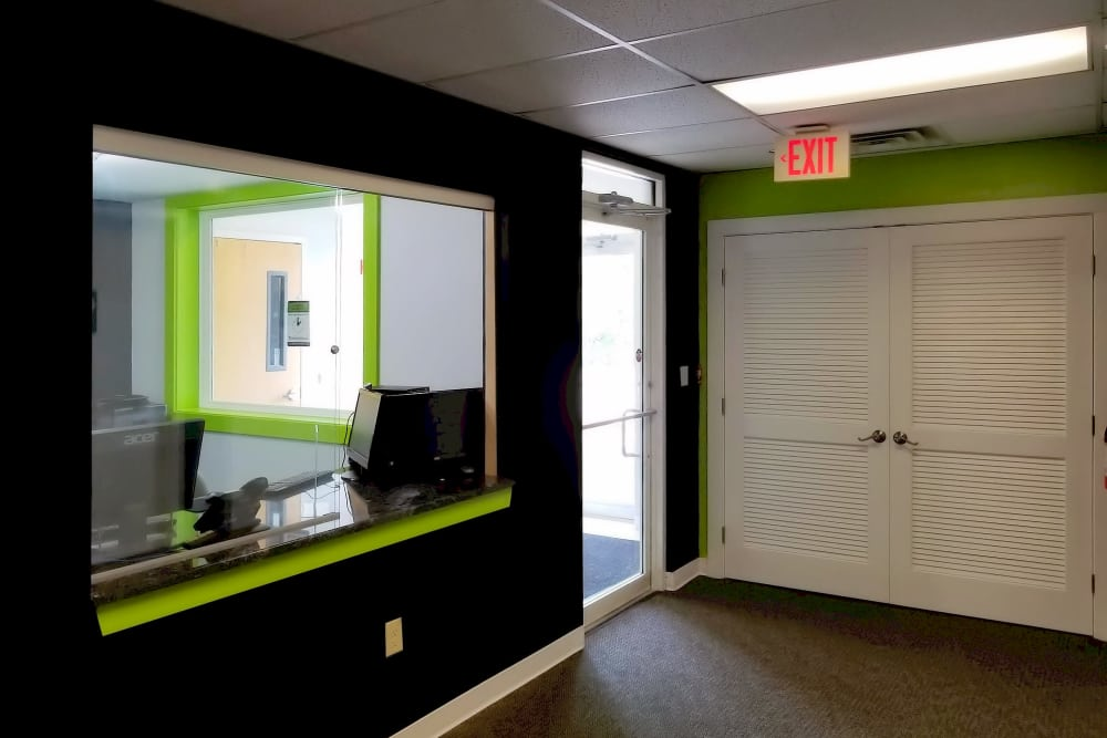 Leasing office at Prime Storage in North Grafton, Massachusetts