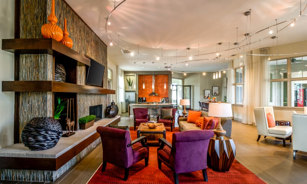 Modern and luxury clubhouse at Firewheel Apartments in San Antonio