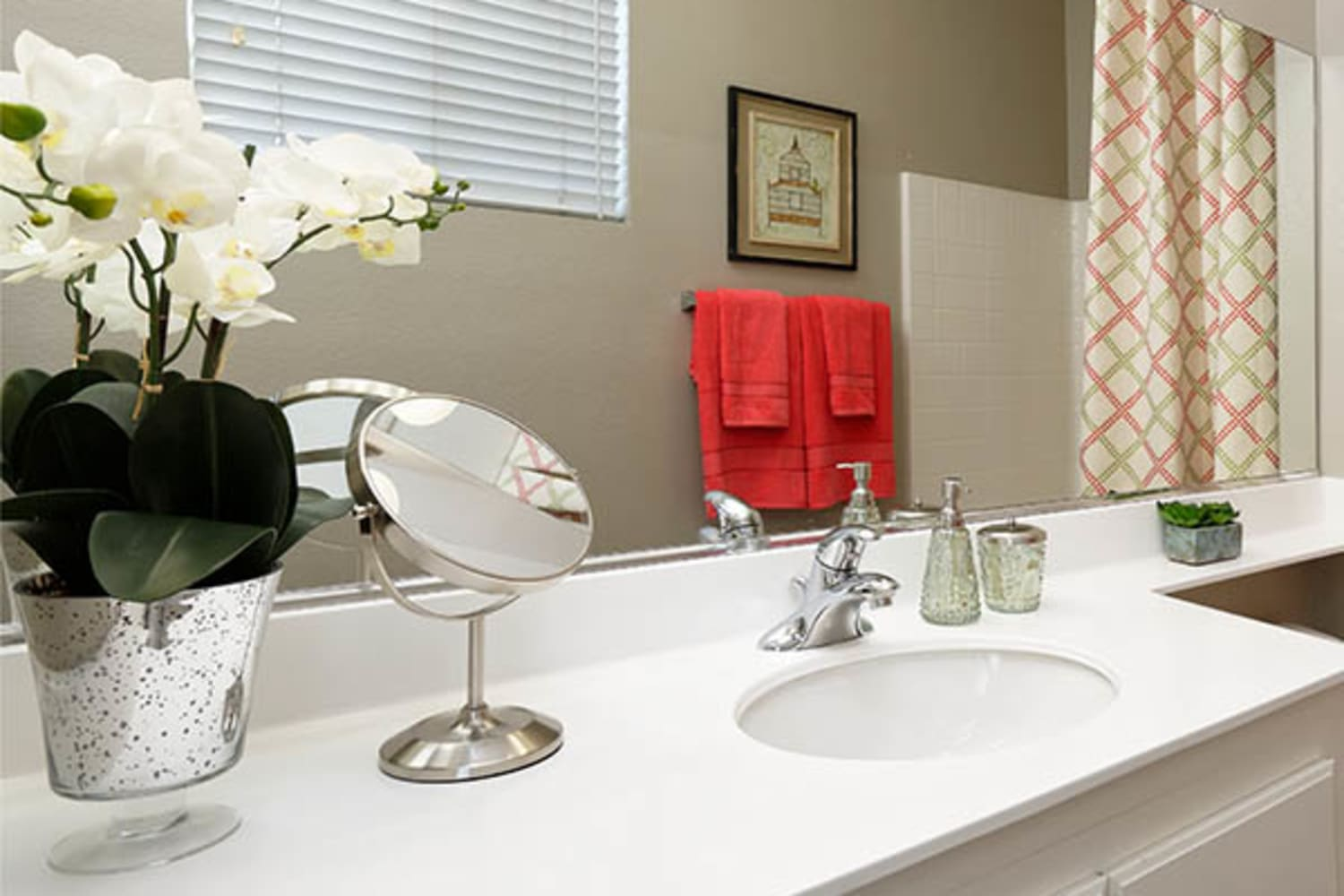 Camino Real offers bathrooms with ample counter space in Rancho Cucamonga, California