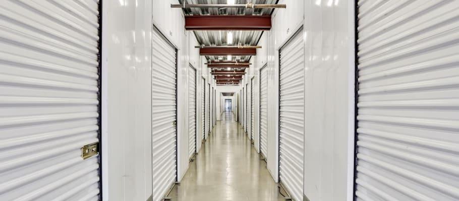 A hallway of indoor storage units at A-1 Self Storage in San Jose, California
