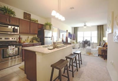 Luxurious apartment home kitchen looking into open-concept living area of model home at Evolv in Mansfield, Texas
