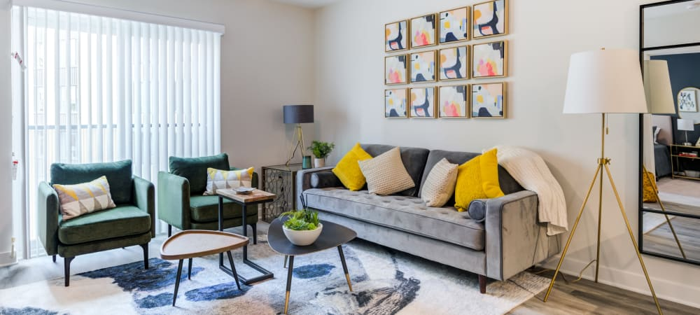 Nice well lit Living room at Main Street Apartments in Rockville, Maryland