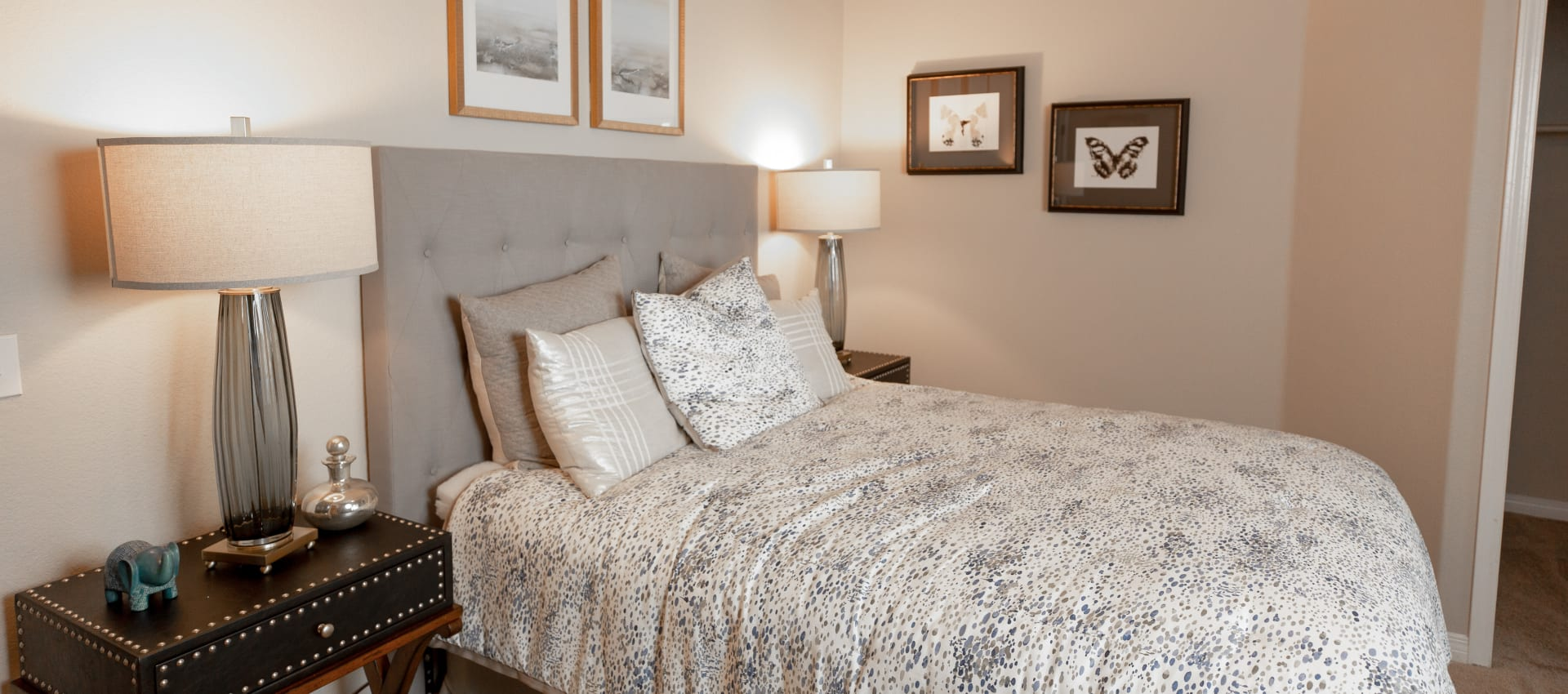 Cozy bedroom at Wolf Ranch Condominium Rentals in Sacramento