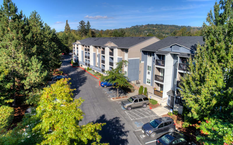 An aerial view of the building at Karbon Apartments in Newcastle, Washington