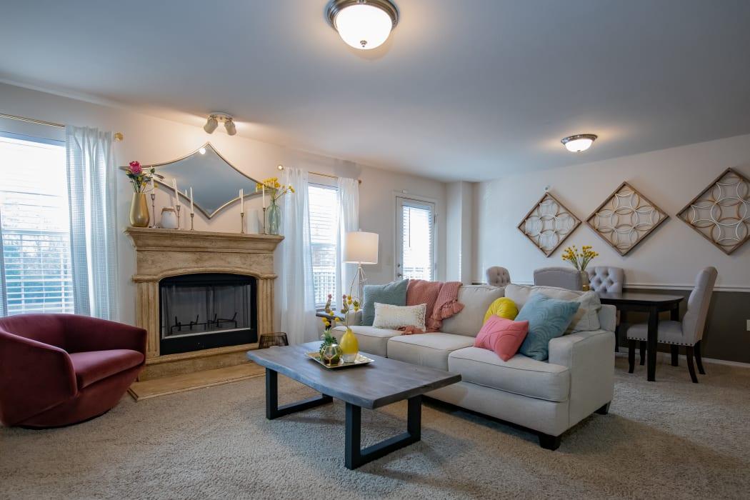 Living room at Nickel Creek Apartments in Tulsa, Oklahoma