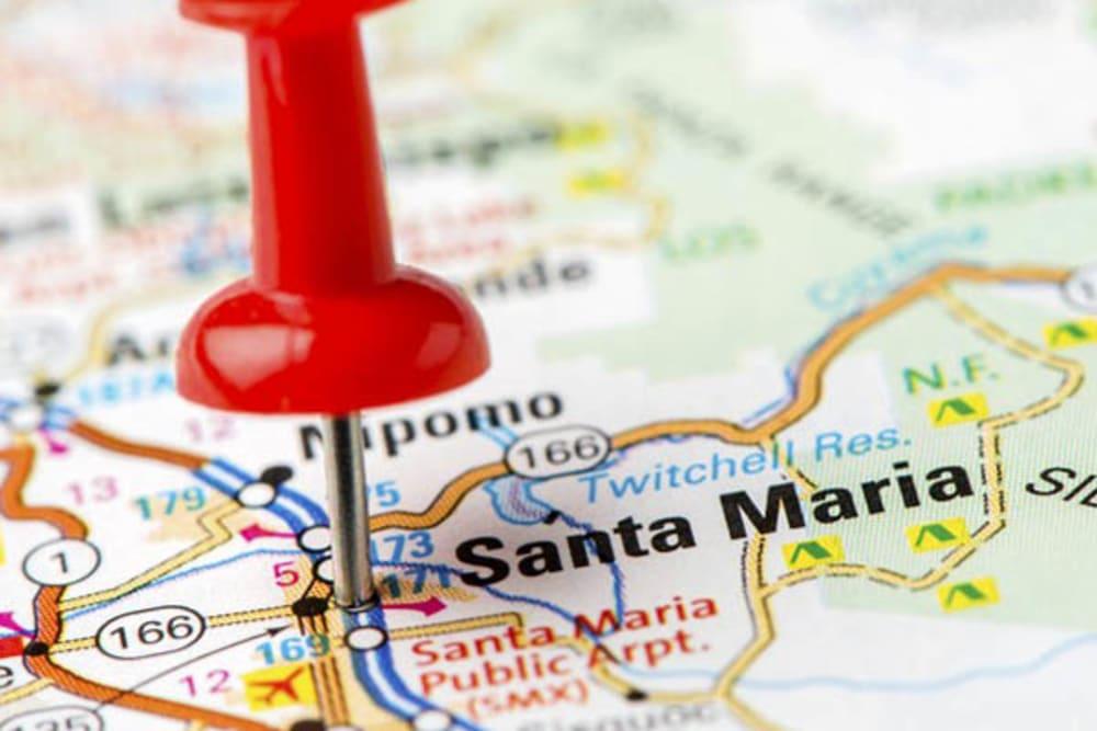 A map where Merrill Gardens at Santa Maria is in Santa Maria, California.