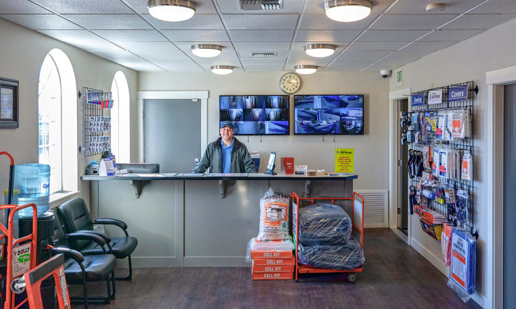 Glacier West Self Storage features a clean office interior with packing supplies available for purchase in Arlington, Washington