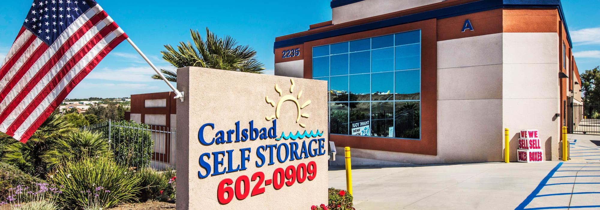 Branding on the exterior of Carlsbad Self Storage in Carlsbad, California