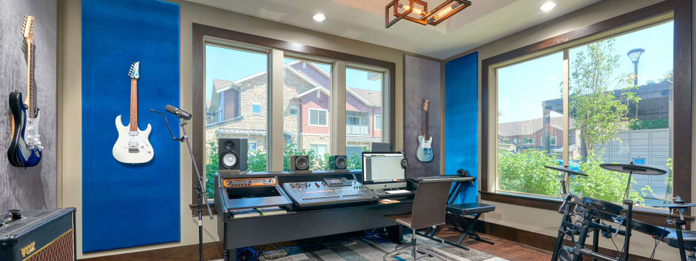 The state-of-the-art recording studio at M2 Apartments in Denver, Colorado
