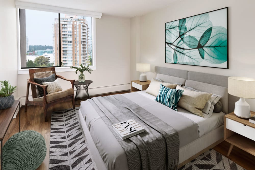 Parkview Towers offers a beautiful bedroom in Burnaby, British Columbia