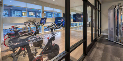 The 24-hour fitness center at Elevate in Englewood, Colorado