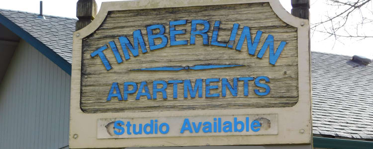 Entrance sign at Timberlinn Apartments in Albany, Oregon