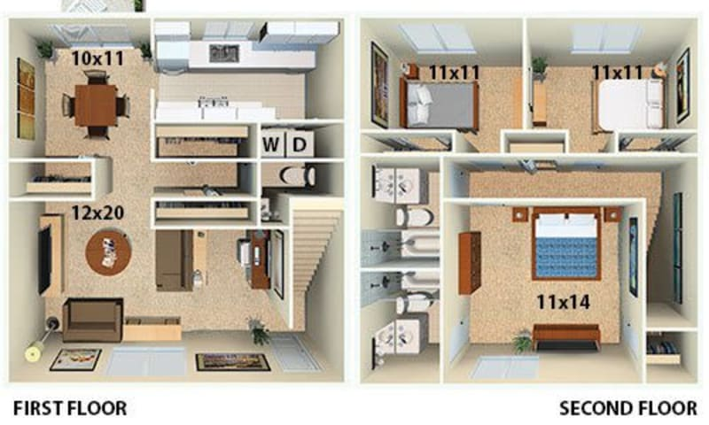 The Sapphire floor plan at Post Ridge Apartments in Nashville, Tennessee.