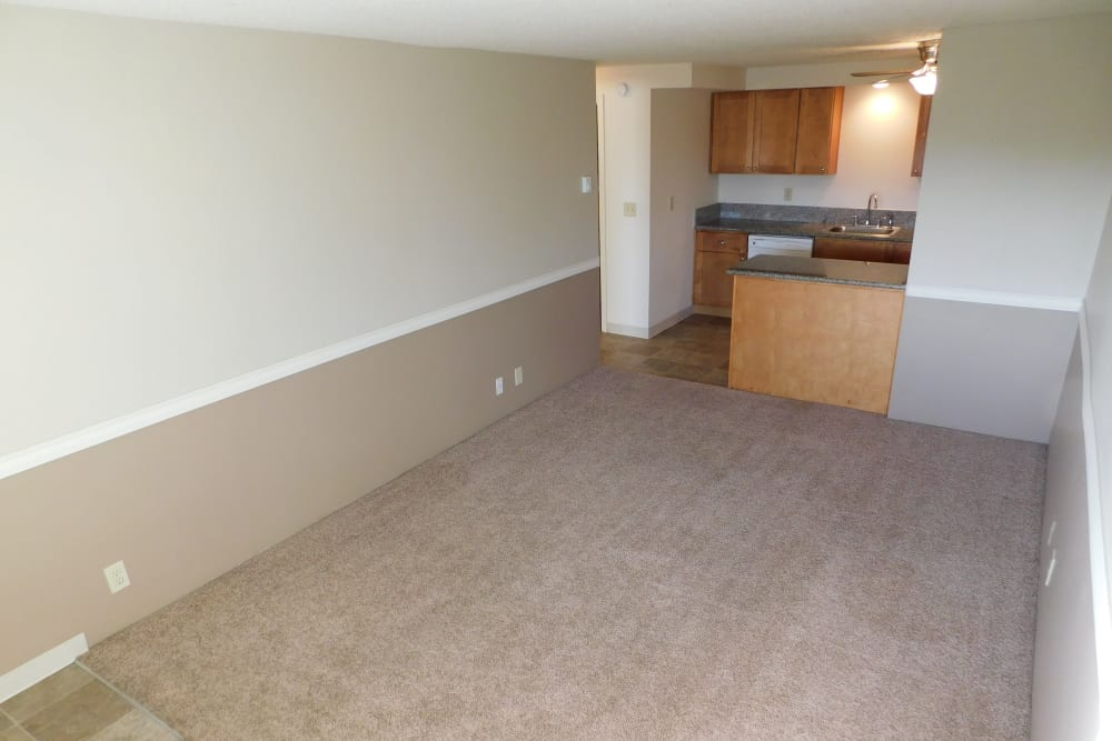 Modern living room at Kings Court in Springfield, Oregon