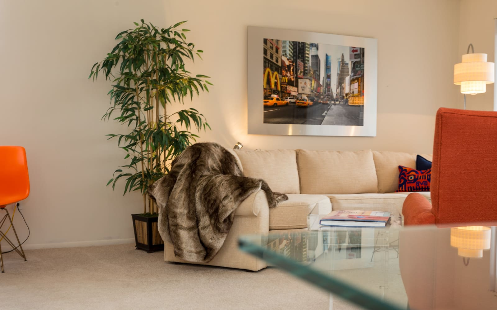 Decorated living room at Fairmont Park Apartments in Farmington Hills, Michigan