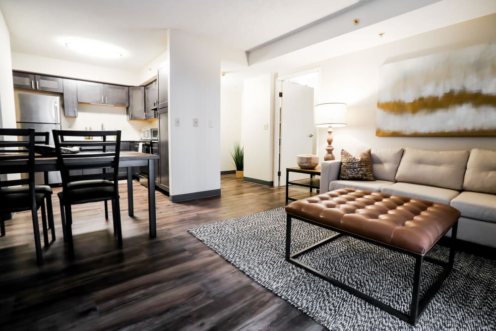 Living room layout at Halcyon House in Denver, Colorado