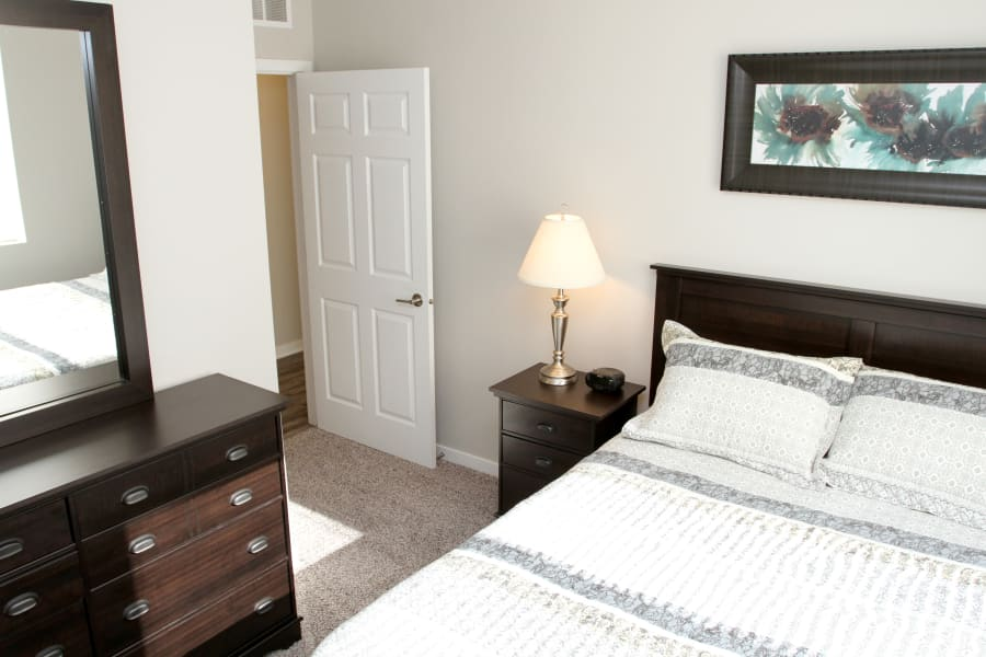 Spacious bedroom in Johnston, Iowa at Johnston Gardens
