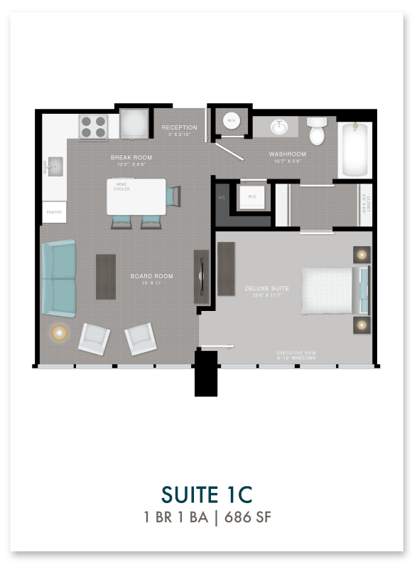 Altitude suite 1C floor plan in Atlanta, GA