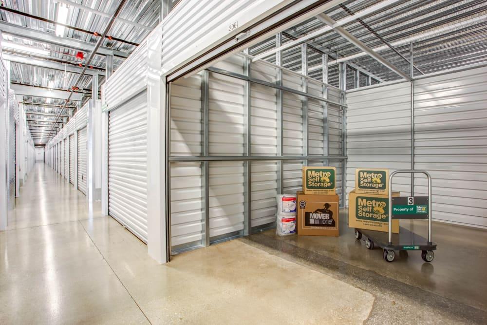 Open indoor unit with pacakges at Metro Self Storage in Skokie, Illinois