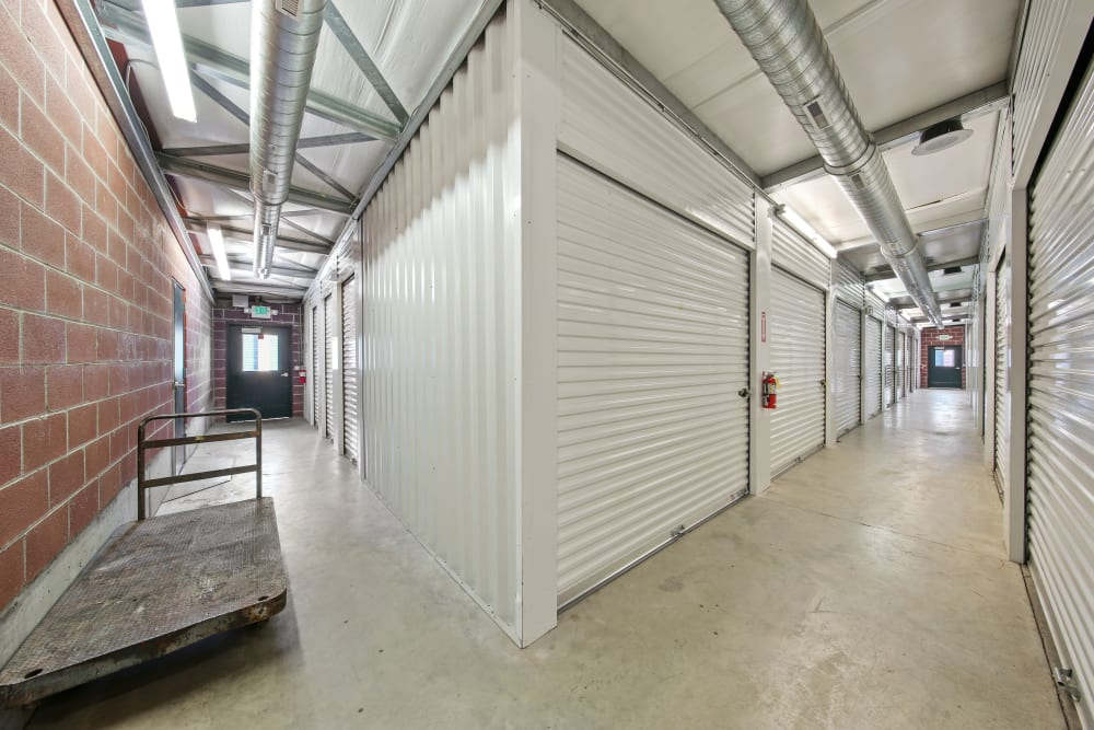 Moving carts near indoor units at Storage Star Fairfield in Fairfield, California