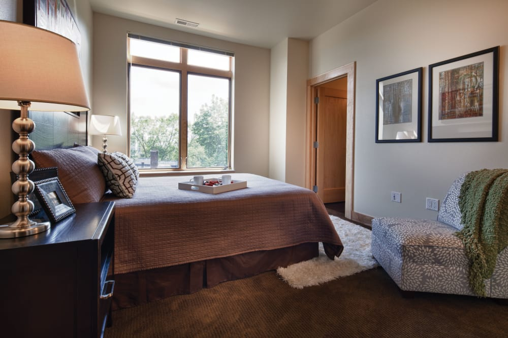 Model bedroom at Keystone Apartments in Madison, Wisconsin