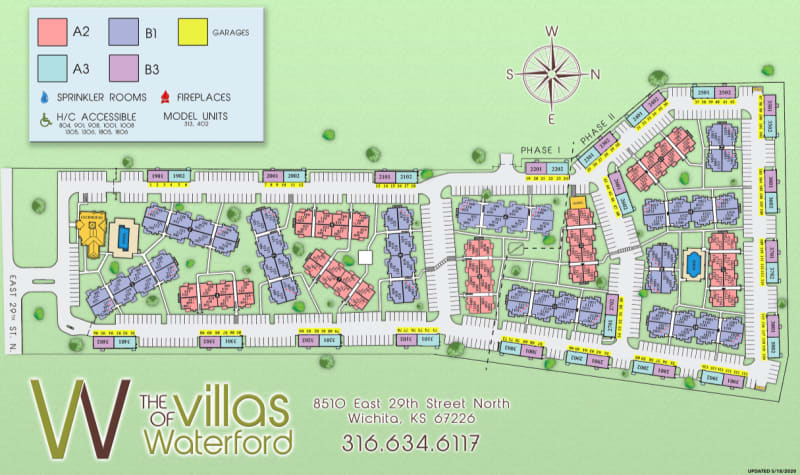 Site map for Villas of Waterford Apartments in Wichita, Kansas