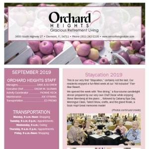 September Orchard Heights Gracious Retirement Living Newsletter