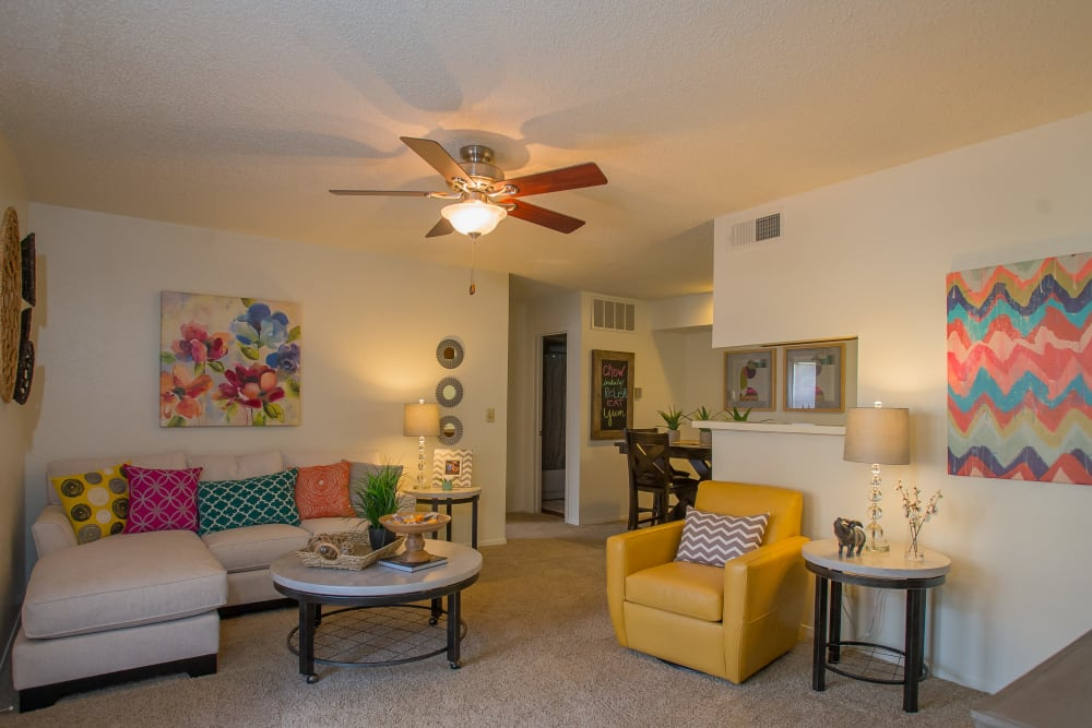 Bright living room at Cimarron Trails Apartments in Norman, Oklahoma