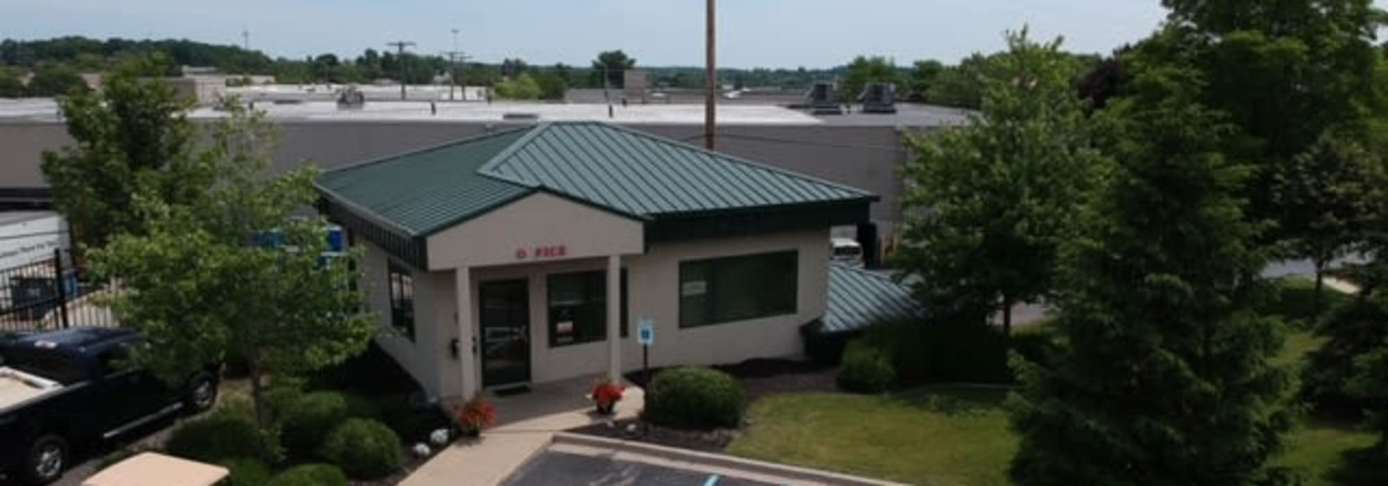An aerial view of the leasing office at Michigan Storage Centers in Farmington Hills, Michigan