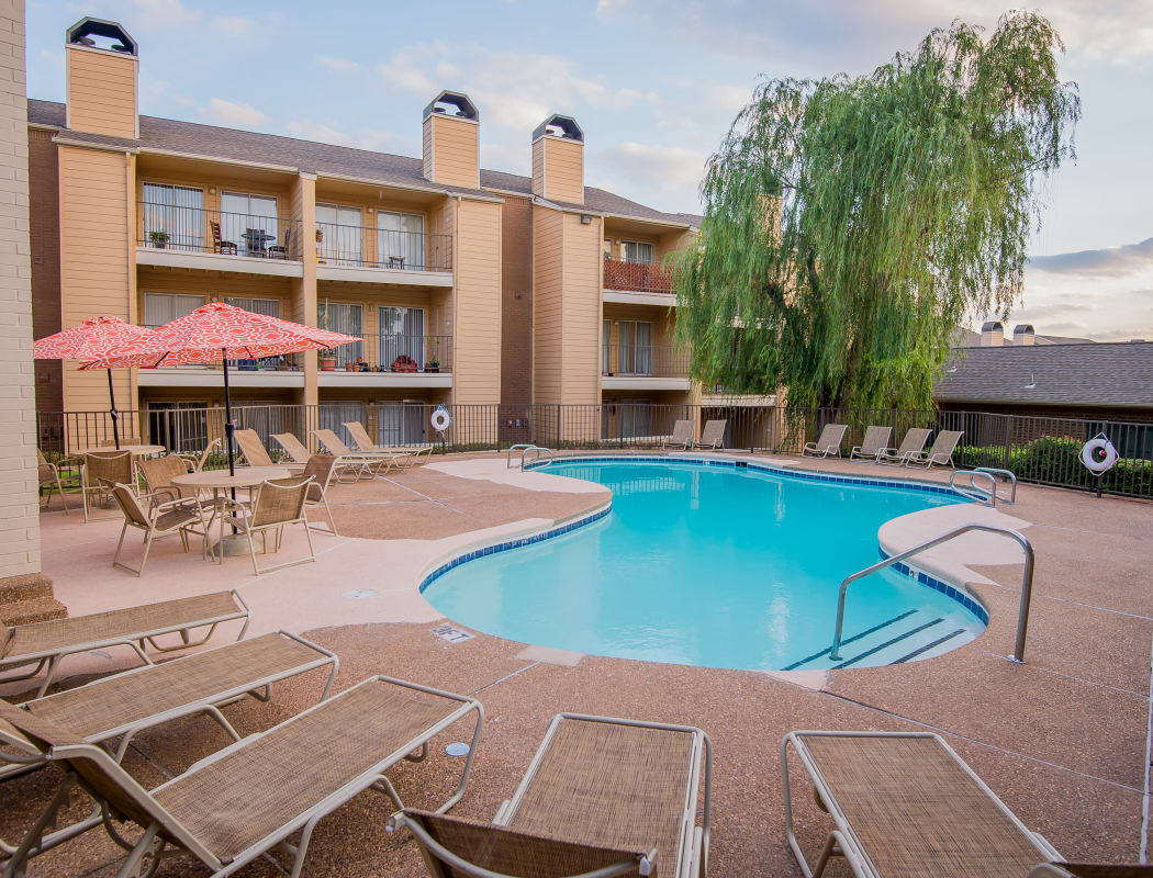 Swimming pool area at Windsail Apartments in Tulsa, Oklahoma