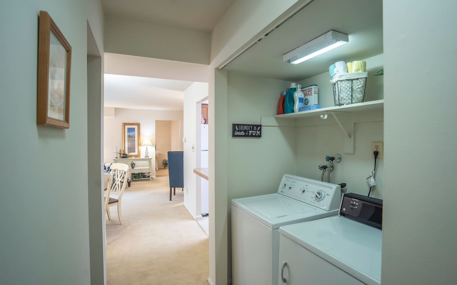 Full-size washer and dryer at Hunt Club Apartments in Cockeysville, Maryland