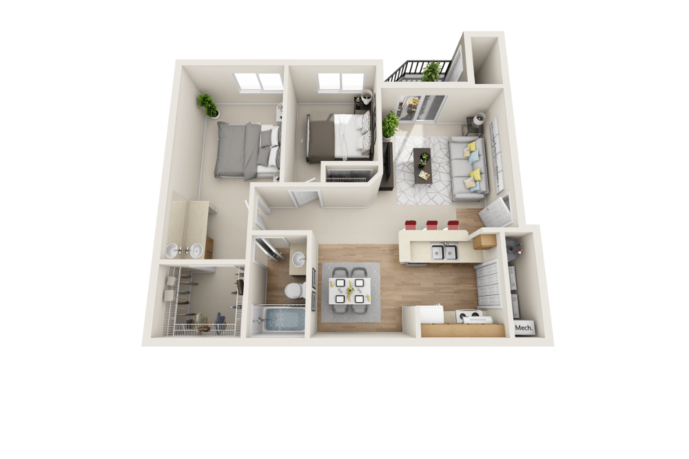 B floor plan at Arbor Crossing Apartments in Boise, ID