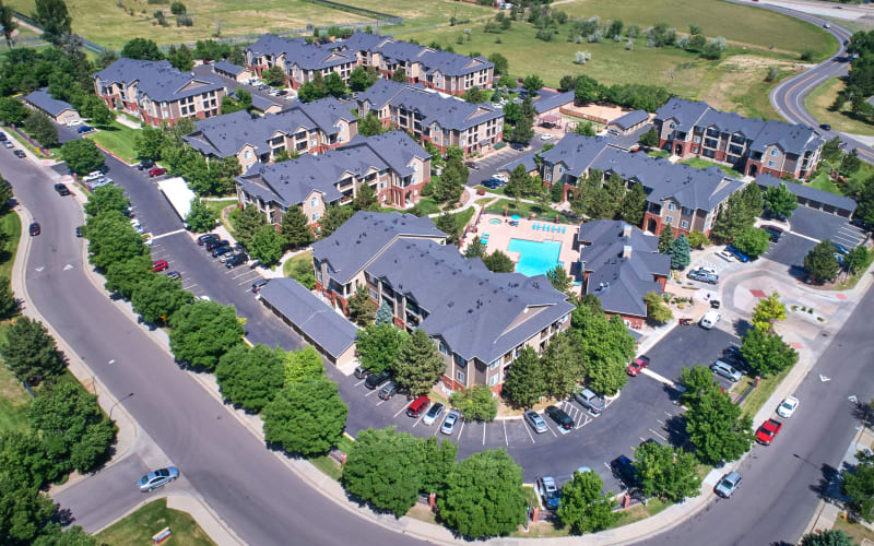 Aerial view of Skyecrest Apartments in Lakewood, Colorado