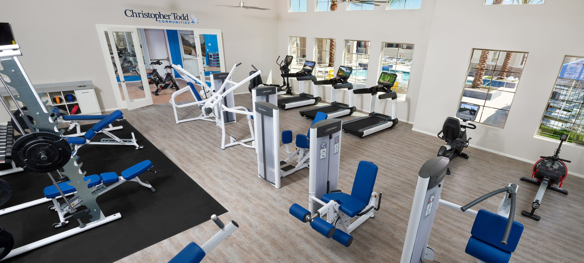 Fitness center and yoga studio at Christopher Todd Communities At Stadium in Glendale, Arizona