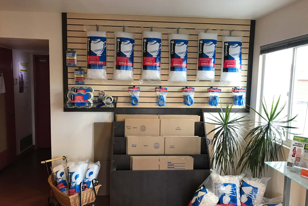 Packing supplies at Storage Solutions in San Marcos, California