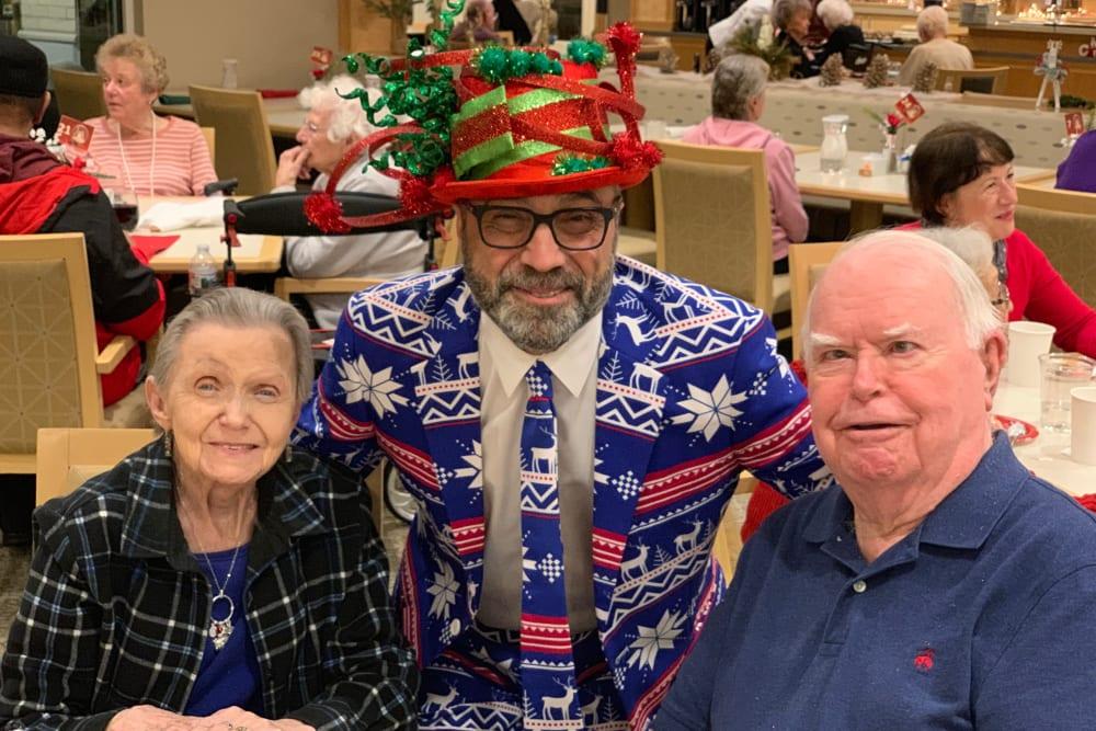 Residents and a staff member at Merrill Gardens at Auburn in Auburn, Washington.