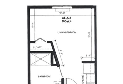 Learn more about our AL Studio assisted living floor plan option at Village at Belmar