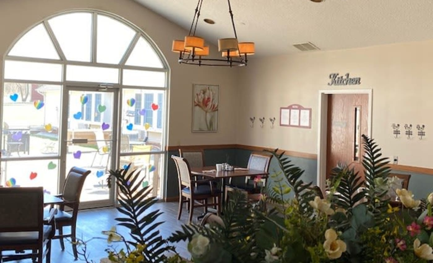 Restaurant-style dining at Liberty Court Assisted Living & Memory Care in Dixon, Illinois.