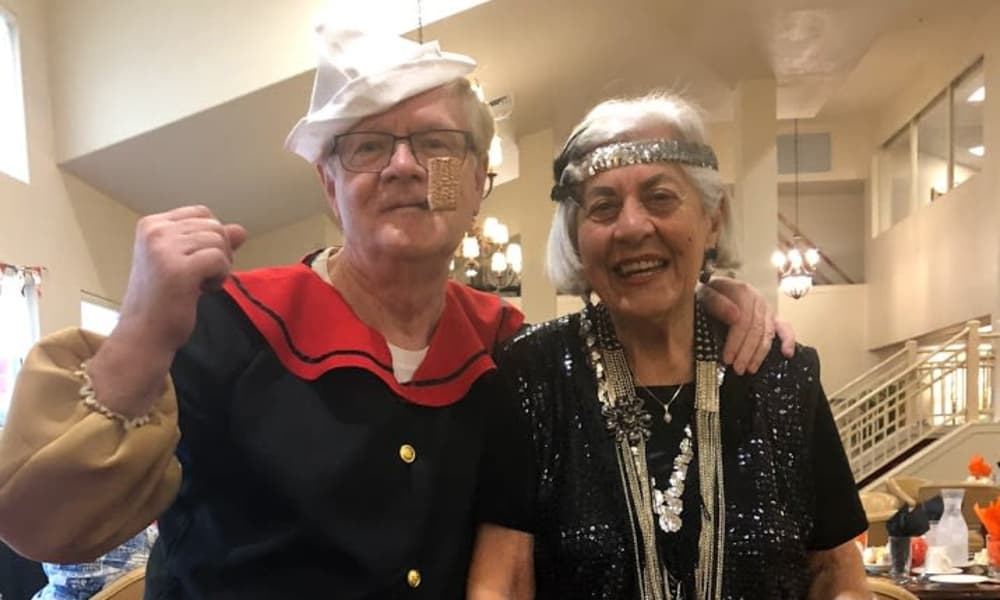 Two residents dressed up for Halloween at Heritage Meadows Gracious Retirement Living in Cambridge, Ontario