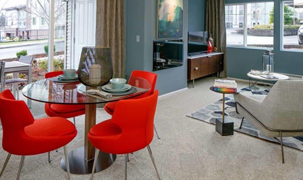 Beautiful living room at Sofi at Cedar Mill in Portland, OR