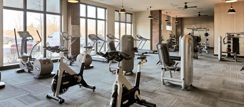 Cardio equipment at The Mark at Brickyard Apartment Homes in Beltsville, Maryland.