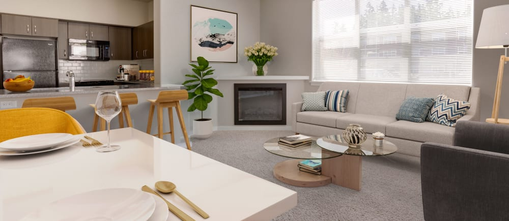 Open concept apartments at Terrene at the Grove in Wilsonville, Oregon