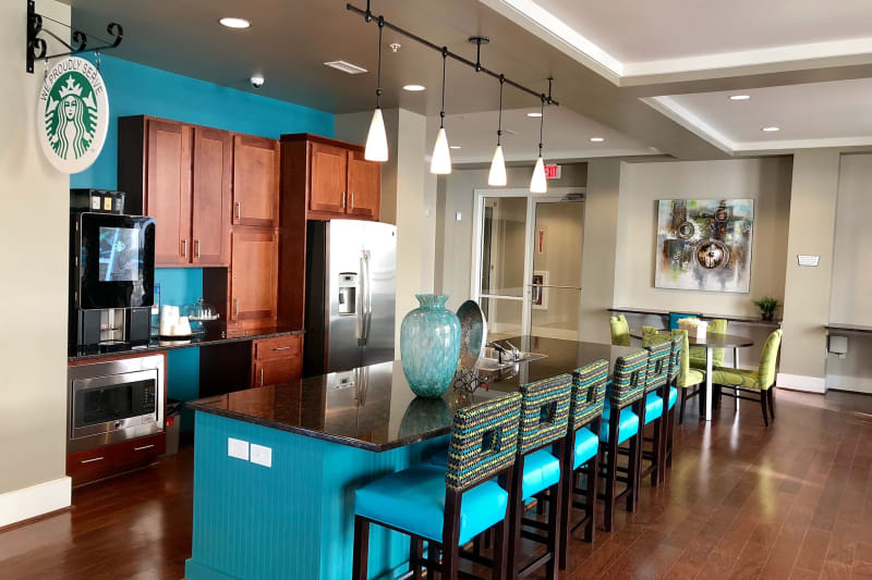 Clubhouse interior at Level at 401 in Raleigh, North Carolina