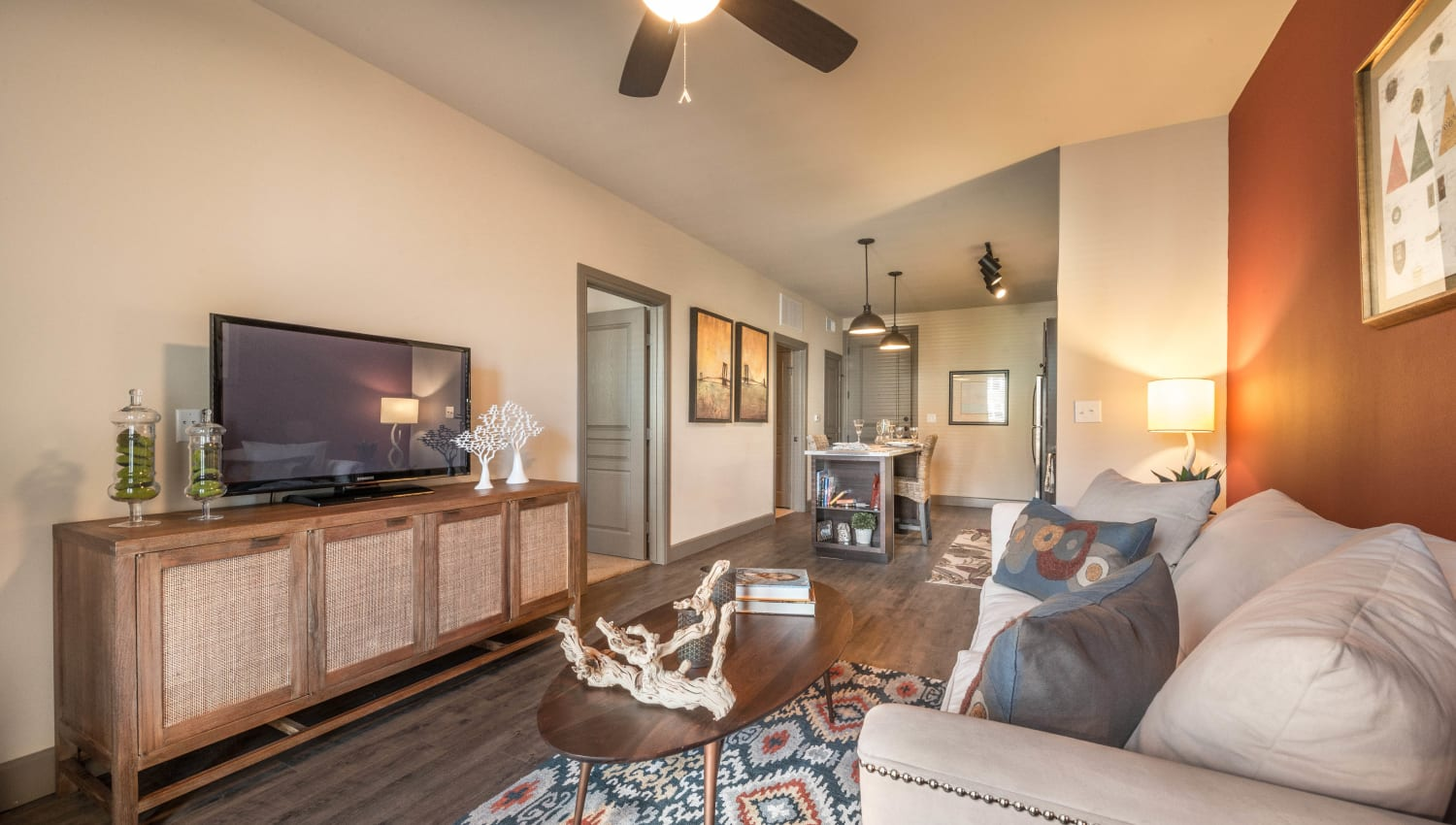Ceiling fan in the living area of a model home at Union At Carrollton Square in Carrollton, Texas