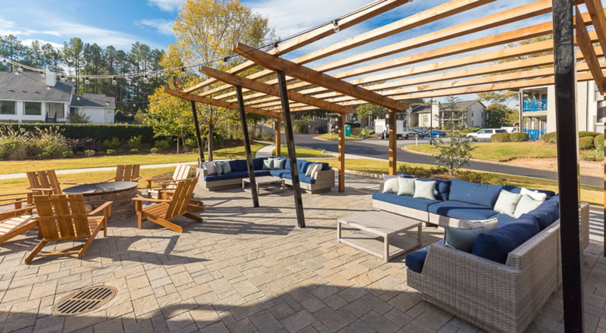 patio fire pit lounge area at Castlegate Property Group in Atlanta, GA