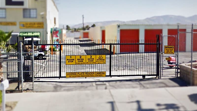 Gated entry at AV Self Storage in Palmdale, CA