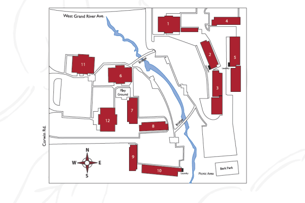 Site map of Creek Club Apartments in Williamston, Michigan